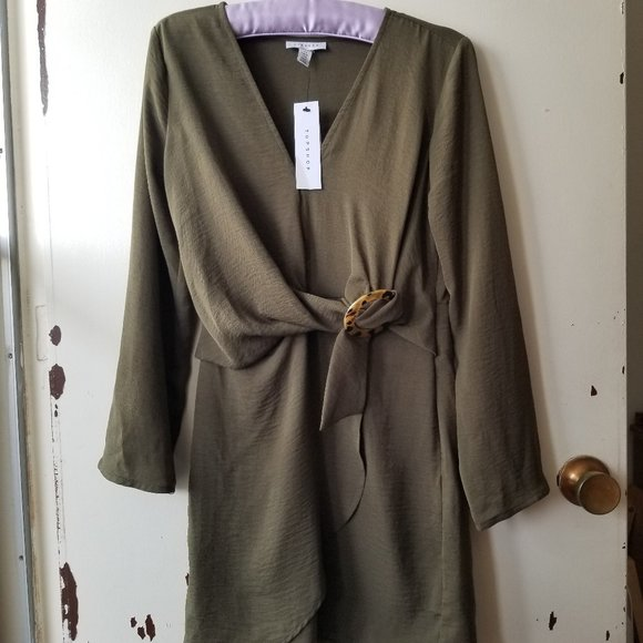 Topshop Dresses & Skirts - NWT Green V-Neck Mini Dress with Front Faux Belt